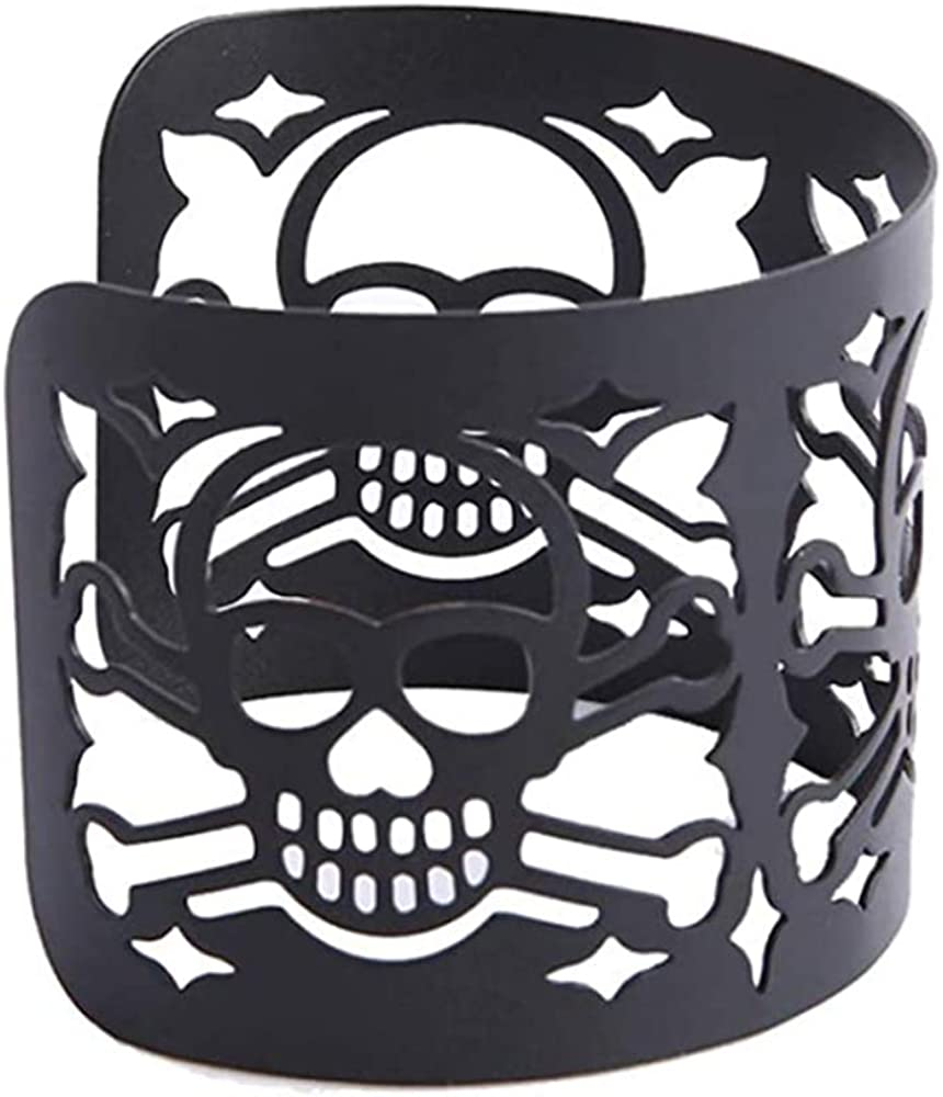 MXYZB Skull Wide Cuff Bracelet Hollow Out Skeleton Wrap Cuffs Bangle Wristband Punk Gothic Halloween Party Jewelry Decorations (Black)