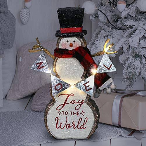 Exhart Joy to The World LED Snowman Statue on a Battery Powered Timer, 8.5 Inch