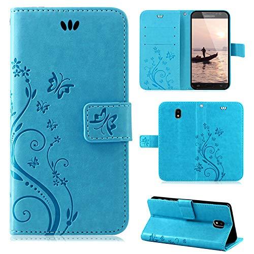 betterfon | Flower Hülle Handytasche Schutzhülle Blumen Klapptasche Handyhülle Handy Schale für Samsung Galaxy J7 (2017) DUOS Blau