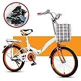 Shhjjyp Bicicleta Plegable Urbana Folding Park,Cómoda Bicicleta De Ciudad Bicicleta 1 Velocidades Rueda De 20',Naranja