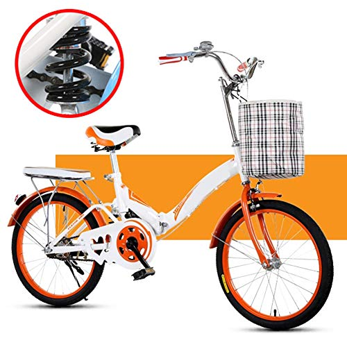 "Shhjjyp Bicicleta Plegable Urbana Folding Park,Cómoda Bicicleta De Ciudad Bicicleta 1 Velocidades Rueda De 20"",Naranja"