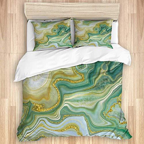 Juego de funda nórdica de 3 piezas, piedra de moda abstracta, ónix verde, jade, ágata, losa de mármol con vetas doradas, líneas onduladas, superficie veteada, colcha con cremallera para dormitorio con