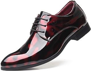 Scarpe Eleganti da Uomo Punta a Punta in Pelle Verniciata Stringate Stringate Scarpe comode Traspiranti per Matrimonio For...