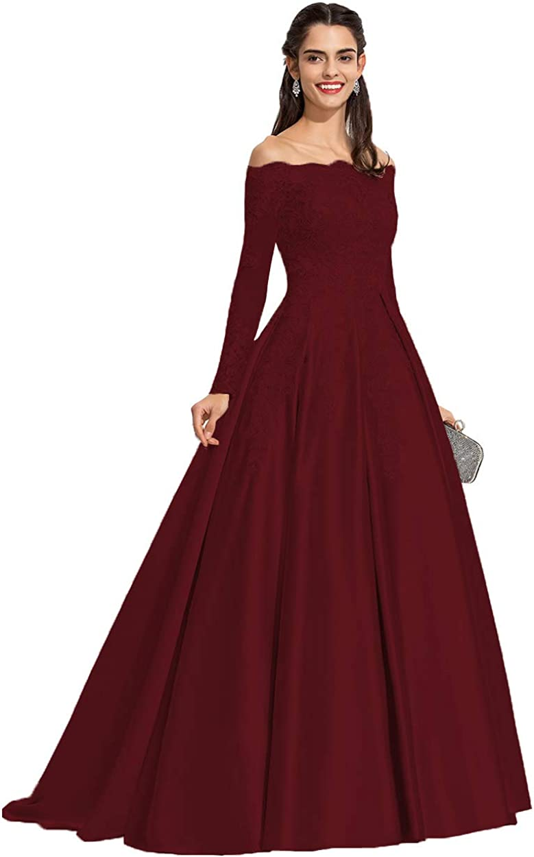 Miao Duo Women's Off The 発売モデル 売買 Shoulder Lace Dres Appliuqes Satin Prom