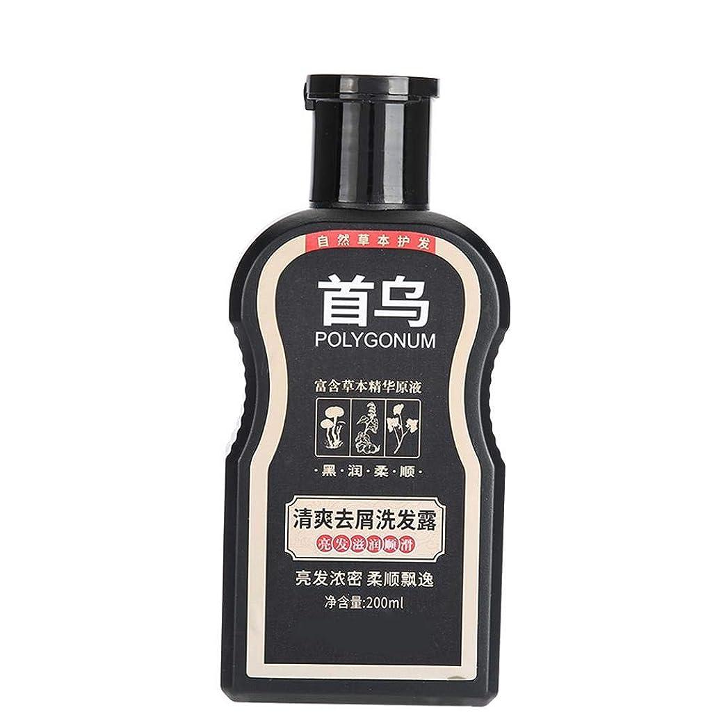 直立経済的コインPolygonum Multiflorumシャンプー、ふけ防止掻痒防止200ml、オイルコントロールモイスチャライジングヘアシャンプー、傷んだ髪を養い、修復するため、黒く滑らかに、そして稠密にする