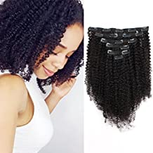 ABH AmazingBeauty Hair 8A Grade Big Thick Real Remy Human 4A 4B Double Wefted Afro Curly Clip In Hair Extensions for African American Black Women, Natural Black, 120 Gram, 16 Inch