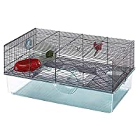 Hamsters cage on two floors, designed for the several animal activities Base made of transparent plastic to allow visibility of the animal The upper part, made of sturdy wire mesh, grants great ventilation inside the habitat Easy to clean thanks to t...