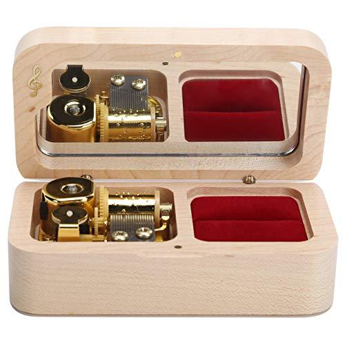 JUnYuKj Caja de música, caja de música mecánica de madera, caja de joyería es muy adecuada para accesorios del hogar, cumpleaños, regalos de San Valentín