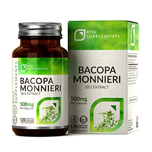 Bacopa Monnieri Brahmi Extract 500mg | 120 Capsules | Memory Supplements to Support Learning | Natural Cognitive Enhancer Tablets | Vegan & Gluten Free | Made in The UK — Non-GMO || Rise Supplements