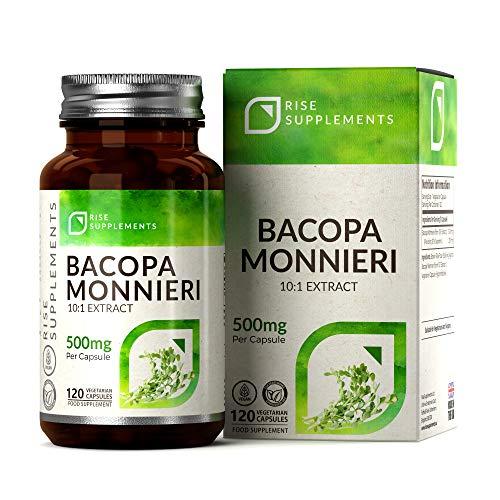 Bacopa Monnieri (Brahmi) 500mg Gélules de Rise Supplements | 120 Capsules Végétariennes | Favorise l'Apprentissage et la Mémoire | Sans OGM et Sans Gluten | Fabriqué au Royaume-Uni