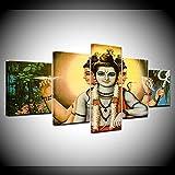 DUODUOQIAN Dios De La India Shiva 5 Cuadros En Lienzo Cuadros Decoracion Amigable con El Medio Ambiente Wall Mural Decoraciónlisto Colgar Marco (150×80Cm)