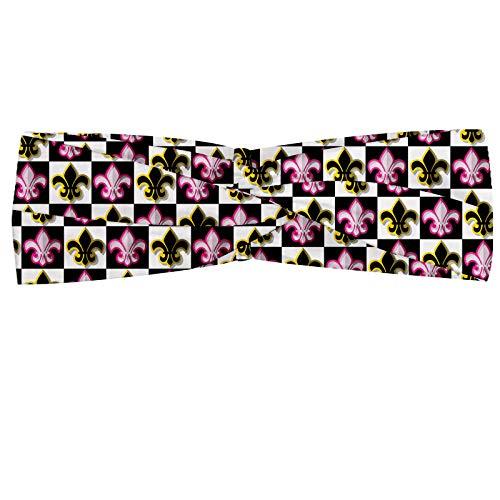 ABAKUHAUS Fleur De Lis Hoofdband, Geruite Pop Art, Elastische en Zachte Bandana voor Dames, voor Sport en Dagelijks Gebruik, Veelkleurig