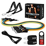 TUYOI Resistance Bands Set Pro,Exercise Bands with TRP Handles,Door Anchor,Premium Ankle Straps for Workout,Fitness,Exercises,Weight Training,12 Packs