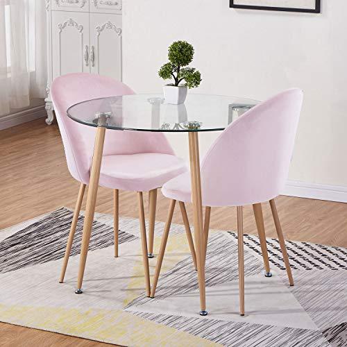 GOLDFAN glas ronde eettafel en zachte fluwelen stoelen Set Morden keukentafel en stoelen voor eetkamer, 90cm