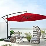 LUCKWIND Cantilever Patio Hanging Umbrella Shade 10FT - Large Market UV Waterproof with Cross Base 8 Ribs Rotating Swing Aluminum Ventilation Tilt Lock Handle Lift (10 FT, Red 2021)