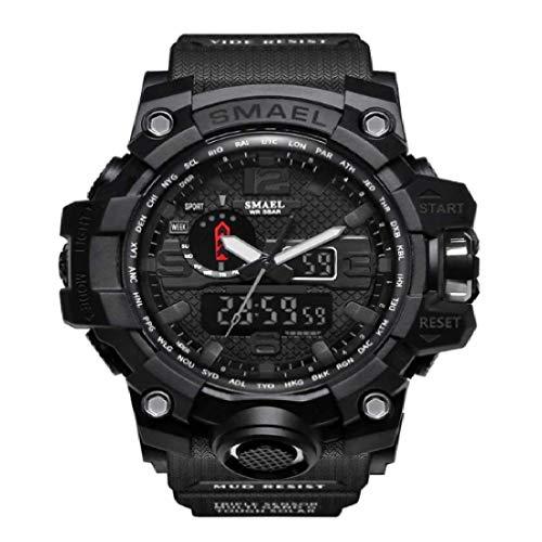 SMAEL Reloj analógico de Cuarzo para Hombre con Doble Pantalla Digital y retroiluminación LED, Resistente al Agua, Multifuncional, Militar