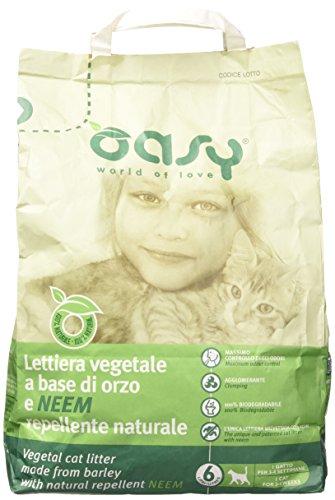 Oasy Lettiera Vegetale A Base di Orzo E Repellente Naturale Lt. 6, Multicolore, Unica