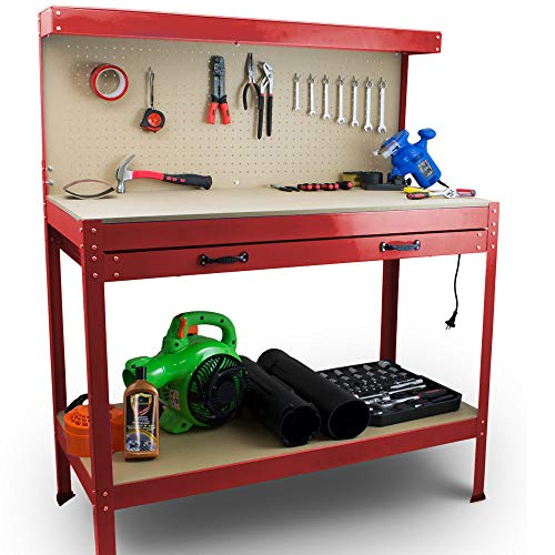 BITUXX Werktisch Werkbank Arbeitstisch Arbeitsplatte Lochwand Schublade Werkstatt 115 x 55 x 140 cm Rot