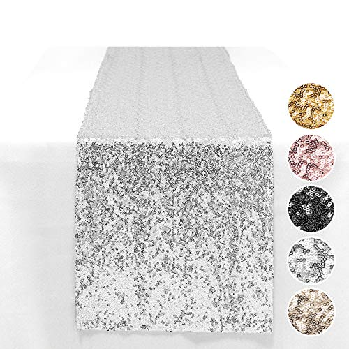 Peomeise 2Pcs Sequin Table Runner for Party Event Decorations (Silver, 12'x108' 2PCS)
