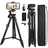 Cell Phone Tripod Nagnahz 55inch Selfie Stick Tripod with Bluetooth Remote 360 Panorama Pan Head Travel Portable Tripod Stand for Mobile Phones iPhone Xs/Xr/Xs Max/X/8/Galaxy Note 9 Aluminum Black