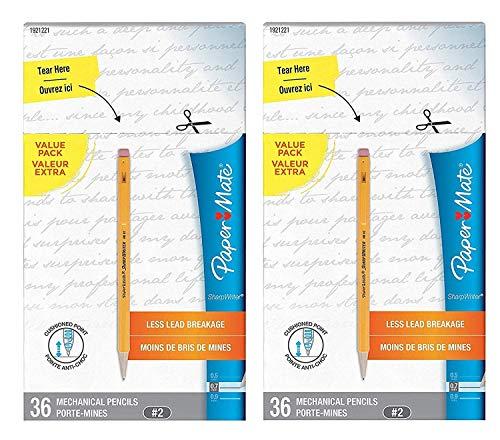 Paper Mate SharpWriter Mechanical Pencils, 0.7mm, HB #2, Yellow, 72 Count
