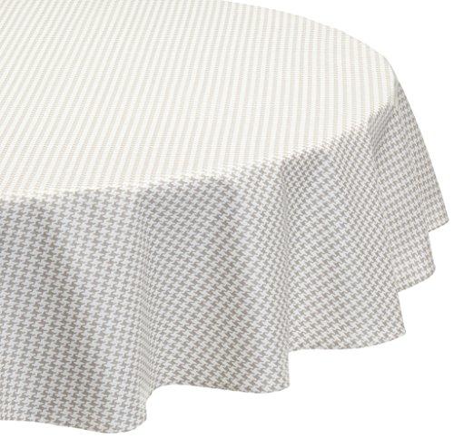 Fleur de soleil Nappe Ovale Anti-Tache imperméable 160x200cm Pied de Poule Taupe/Blanc Coton Enduit - sans solvant - sans phtalate - 100% Fabrication française