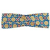 ABAKUHAUS Diadame retro, Banda Elástica y Suave para Mujer para Deportes y Uso Diario Los círculos grandes y pequeños con los puntos coloreado vibrante simétrico del azulejo, Marigold azul escarlata