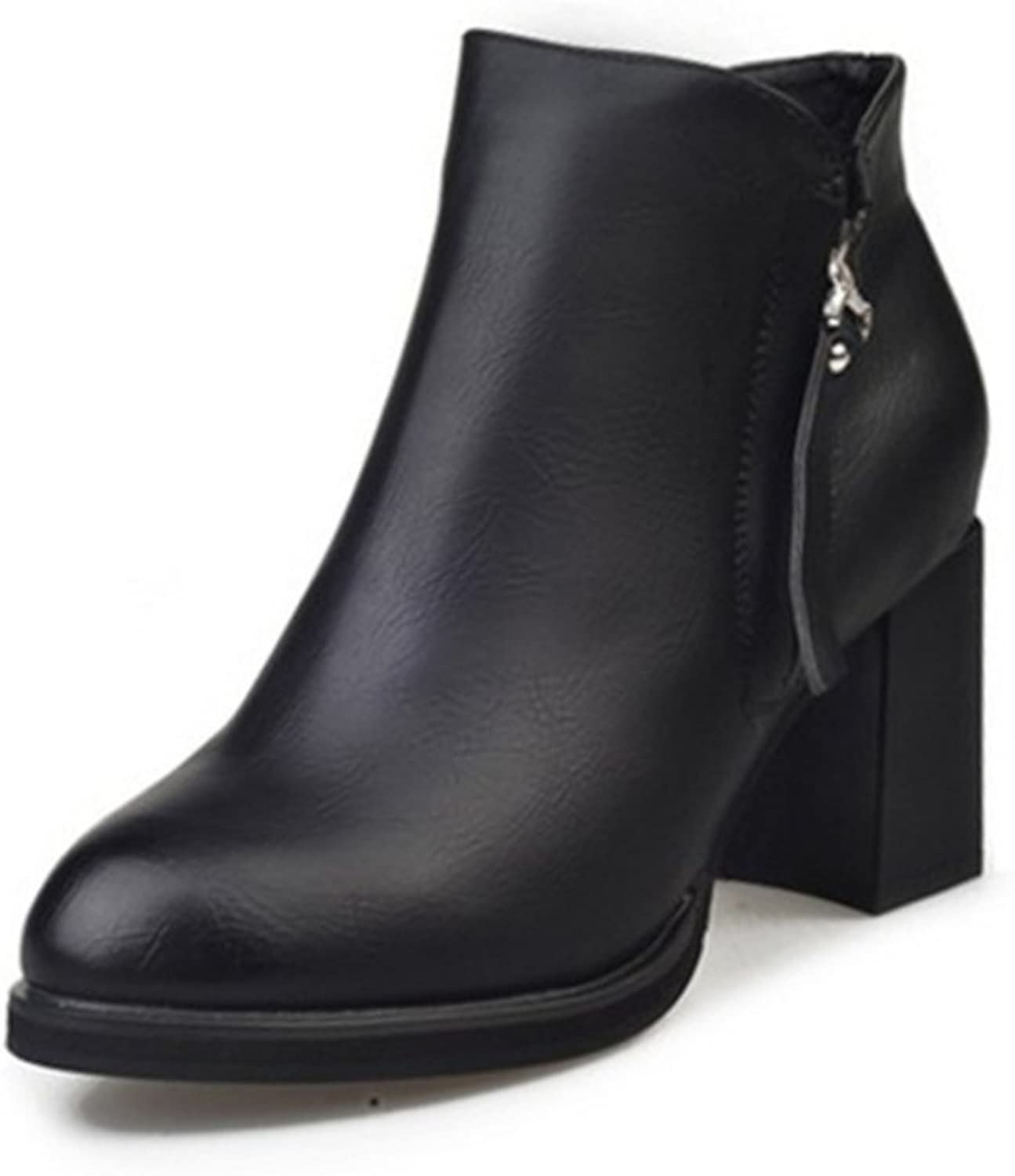 Chunky heels with the ankle boots in the autumn and winter short women's boots Martin pointy boots England-style women's shoes