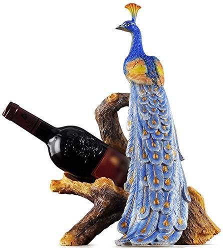 Estantería de vino Estante de vino Moderno Minimalista Minimalista Botella de vino Rack Creative Resin Peacock Botella de pavo real Sala de estar Estante de vino Decoración Regalo (Color: 28.5 * 19.5