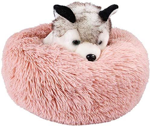 YAOSHUYANG Perro Cama Cama calmante para Gatos para Perros de Mascotas, Cama de buñuelo Redondo, Cama de Perro Suave y cómoda para Peluche para pequeña Mascota Grande, Blanco, S / 40cm