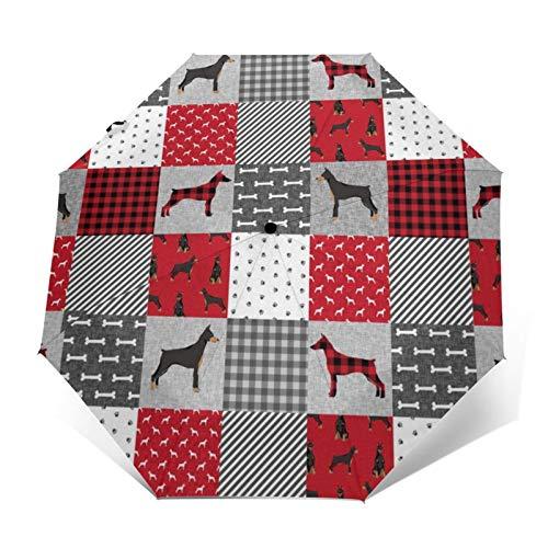 Dobermann Pinscher Haustier-Steppdecke, Hundedecke, Kinderzimmer-Kollektion, winddicht, faltbar, wasserdicht, automatisch, dreifach faltbar, leicht, kompakt
