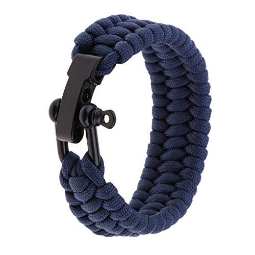 Sharplace Corde Garde Paracorde Tressé Bracelet Poignet Support Remplacement Voyage - Bleu foncé, 23x2.5cm