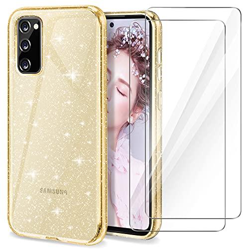 YIRSUR Hülle Kompatibel mit Samsung Galaxy S20 FE mit 2 Stück Panzerglas, Handyhülle Hülle Transparent Glitzer Slim Soft Silikon TPU Kompatibel mit Samsung Galaxy S20 FE - Golden