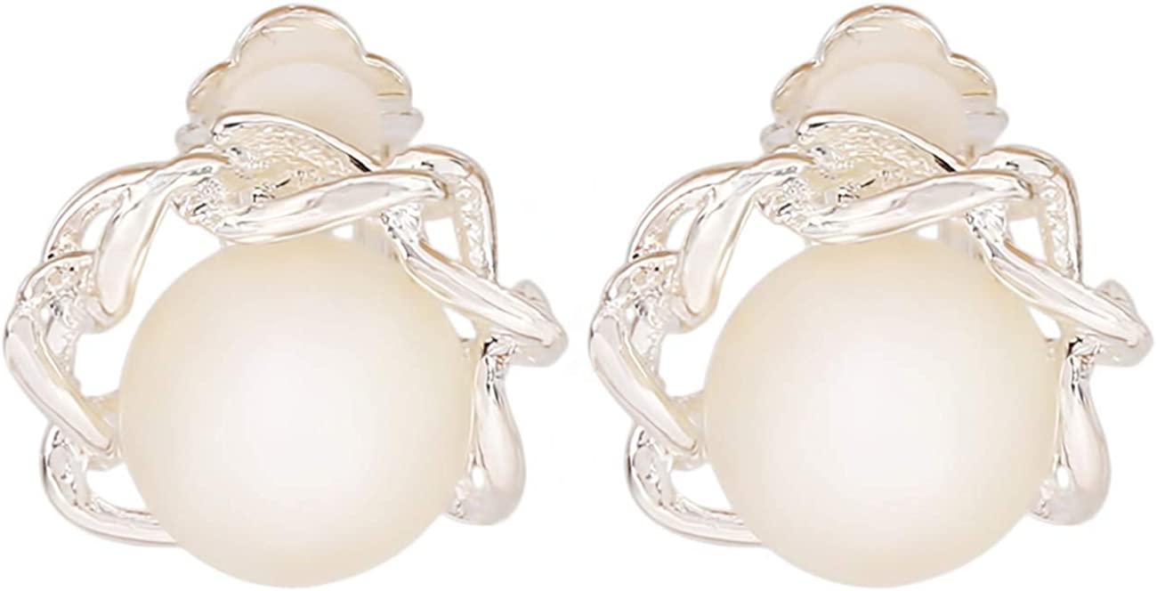 Bigsweety Pearl Clip on Earrings for Women Pearl Clipon Earrings-Non Piercing Earrings for Women and Girls