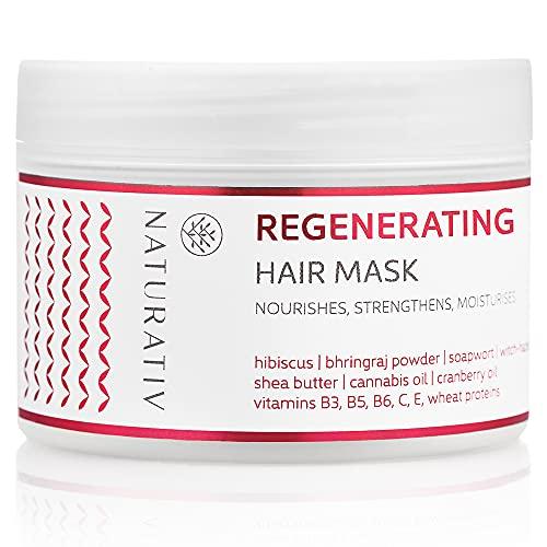 Naturativ Regeneration Haarmaske | 250 ml | Verbessert das Erscheinungsbild und den Zustand von strapaziertem und trockenem Haar | Spendet Feuchtigkeit, pflegt, strafft und glättet das Haar