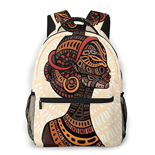 Lawenp School Backpacks Hand Drawn Ethnic Illustration Profile Portrait Tribal Ornaments Folk Art for Teen Girls&Boys 16 Inch Student Bookbags Laptop Casual Rucksack