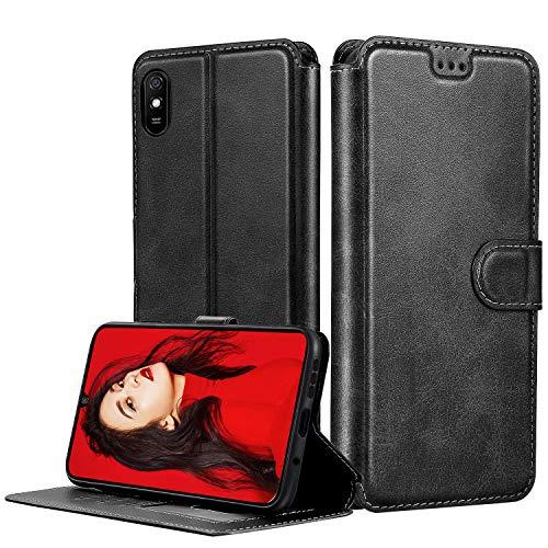 LeYi Hülle für Xiaomi Redmi 9A Mit HD Folie Schutzfolie,Leder Handyhülle Stoßfest Wallet Etui Magnet Schutzhülle Tasche Slim Silikon Soft Grip Cover Bumper TPU Hülle für Handy Redmi 9A Matt Schwarz