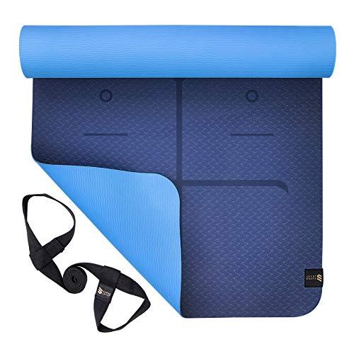 SUPERLETIC Yoga-Matte Professional aus TPE, rutschfest, Anti-allergisch, schadstofffrei, 100% biologisch abbaubar, 183 x 61 cm, 5 mm stark, mit Trage-Gurt