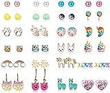 YADOCA 24-60 Paare Edelstahl Ohrstecker Set für Frauen Mädchen Ohrringe Kinder Damen Ohrringe Tier Ohrringe Blumen
