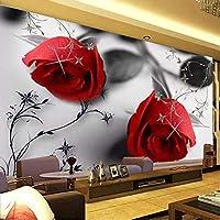 カスタム3D写真の壁紙赤いバラの花大きな壁画アート壁画リビングルーム寝室防水壁紙-280X200CM