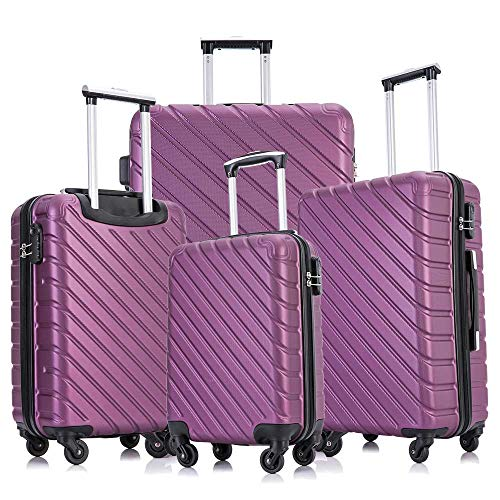 Apelila 4 Piece Luggage Sets,Travel Suitcase Spinner Hardshell Lightweight w/Free Suitcase Cover& Hanger (4PC Purple)