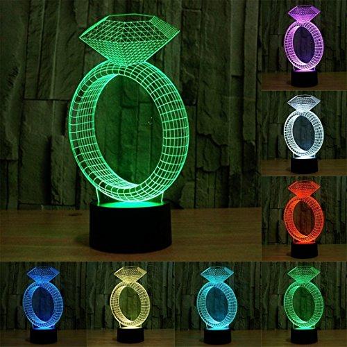 LIUCHANG Warm Home Decoration-Diamant-Ring USB-Lade 7 Farbe Verfärbungs Visuelle Stereo Licht 3D Touch Control LED Tischleuchte Nachtlicht, DC 5V, Acryl Schenken liuchang20