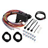 12 Circuit Universal Wire Wiring Harness Kit for Hot Rod Street Rod Rat XL Car Truck Wirng Harness Extra Long Standard Color Coded Painless Basic 12-Circuit Fuse Wire Harness Cable Set W/Instruction