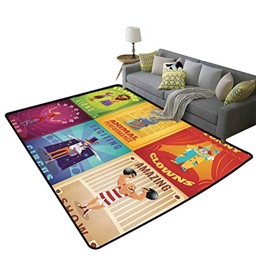 Circus Decor Non-Slip Kids Carpet Baby Nursery Decor Modern Rug 2.5ft x 5ft Circus Characters with Trained Animals The Strong Man Trapeze Artist Retro Show Design
