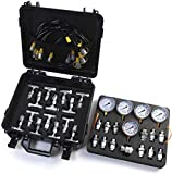 SINOCMP Hydraulic Pressure Test Kit with 5 Gauges, 5 Test Hoses and 13 Couplings and 14 Tee Connectors Hydraulic Test Gauge Kit Pressure Gauge Used for Excavators, 2 Years Warranty
