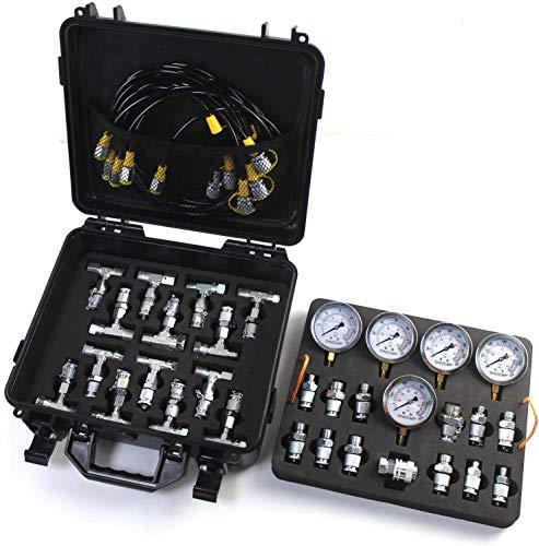 Kit de prueba de presión hidráulica SINOCMP con 5 calibres, 5 mangueras de prueba y 13 acoplamientos y 14 conectores en T Kit de manómetro hidráulico para excavadoras, 2 años de garantía