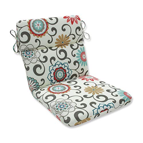 """Pillow Perfect Outdoor/Indoor Pom Play Peachtini Round Corner Chair Cushion, 40.5"""" x 21"""", Blue"""