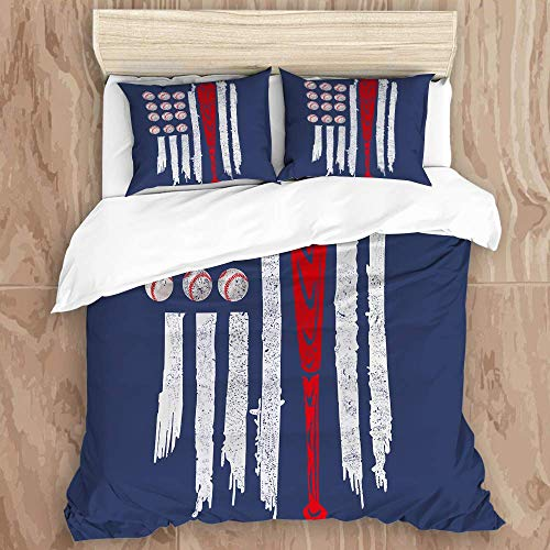 Bedding Duvet Cover Set with Zipper Closure - Flag Of The U S A Baseball Pattern - Brushed Microfibre Duvet Cover with Pillowcases-Single(135 * 200cm)