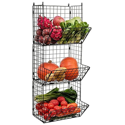 iPEGTOP 3 Tier Foldable Metal Wire Baskets, Stackable Hanging Wall Mounted Storage Bins Shelf Produce Bin Fruit Vegetable Storage Pantry Organizier, Toiletries Bathroom Rack, Black