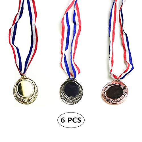 kungfu Mall 6 medallas de ganadores de PCS Medallas de fabricación de Metal con Oro Plateado cobrizo para la Competencia de premios de Deportes de Fiestas Infantiles